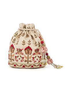 Anita Dongre   Natural And Red Embroidered Potli Bag   Shop Bags at strandofsilk.com