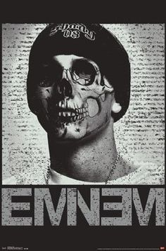 Eminem With Skull Art On Face Above Logo The Latest! The Best! The Hottest! Posters Are Rolled And Sent In Sturdy Tri-Tube For Protection. Sizes Vary But Approximate Sizes Are 22 Inches x 34 Inches....