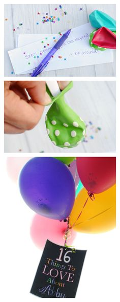Birthday Gift Idea-Fill Balloons with little notes and confetti