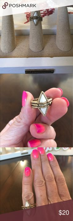 Chloe + Isabel Triangle Nesting Rings Perfection! A nesting ring so you get two rings in one. This dynamic design sparkles with clear crystal pave accents. Complete with antique gold plating. Chloe + Isabel Jewelry Rings