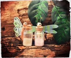 Butterfly and dragonfly with magic dust in a glass boltle (aprox 6cm), Handmade from cold porcelain clay.