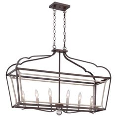 Minka Lavery Astrapia 6-Light Dark Rubbed Sienna with Aged Silver Island Light-4346-593 - The Home Depot