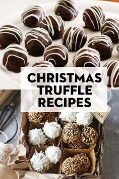 91 crowd-pleasing Christmas truffle recipes New Year's Desserts, Christmas Desserts Easy, Single Serve Desserts, Cute Desserts, Xmas Food, Christmas Cooking, Christmas Treats, Dessert Recipes, Christmas Recipes