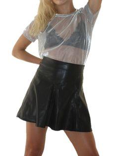 ANTIDOTO/Remera de red plateada y pollera ecocuero Leather Skirt, Skirts, Fashion, Clothing Branding, Costumes, Trends, Feminine, Style, Moda