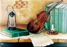 Cuadros Modernos Pinturas y Dibujos : Bodegones Musicales al Óleo (Pintura y Música) Decoupage, Violin, Music Instruments, Modern Paintings, Painting & Drawing, Portraits, Paintings, Mosaic Art, Wine Cellars