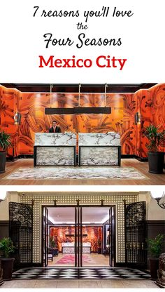 """Wow! How to go from fusty to fabulous! We love the new Four Seasons Hotel Mexico City renovation, especially the cool lobby (with its bold orange-and-red mural and cozy """"hang-out"""" spots) and bright chic guestrooms. Read our full review :-)."""