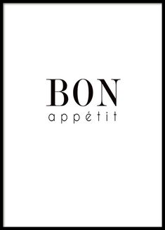 """Typography poster for the kitchen with the lettering """"Bon appétit"""". The poster . - Typography poster for the kitchen with the lettering """"Bon appétit"""". The poster is in black and whi - Poster Text, Typography Poster, Poster Poster, Poster Shop, Poster Prints, Bon Appetit, Desenio Posters, Buy Posters Online, Prints Online"""
