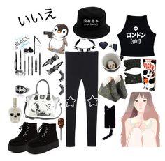 """""""いいえ"""" by vitorialn ❤ liked on Polyvore featuring Illustrated People, BillyTheTree, Missguided, Loungefly and Panda"""