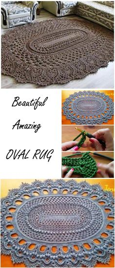 Crochet May the Miracle Oval Rug Free Pattern - Crochet Area Rug Ideas Free Patterns Crochet Doily Rug, Crochet Rug Patterns, Crochet Dishcloths, Crochet Home, Crochet Gifts, Cute Crochet, Crochet Yarn, Easy Crochet, Crochet Sunflower