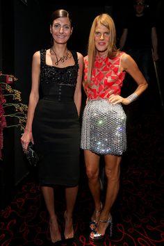 Giovanna Battaglia y Anna Dello Russo, en en la apertura de la flaghsip store de Moncler, durante la semana de la moda de París, primavera-verano 2014