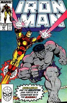 Iron Man 247 - Iron Man - Incredible Hulk - Spider-man - Marvel - Lasers - Bob L. Iron Man Comic Books, Batman Comic Books, Comic Books Art, Tony Stark, Iron Man Art, Hulk Spiderman, Captain America Comic, Avengers Comics, Marvel Vs