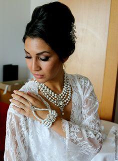 Купить Браслет-слейв на руку Bridal - свадебный браслет, слейв-браслет, браслет невесты