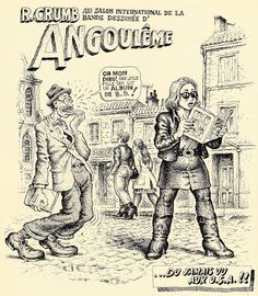 """Robert Crumb - For The international comics french festival in Angoulême """"My God! A beautiful girl is reading a comics book! Unbelievable in..."""