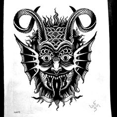 Traditional demon face tattoo - My list of best tattoo models Dark Art Tattoo, Demon Tattoo, Body Art Tattoos, Hand Tattoos, Samurai Tattoo, Traditional Tattoo Old School, Traditional Tattoo Flash, Funny Tattoos, Cool Tattoos