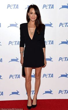 Flawless: Actress Maggie Q looked stylish in an LBD and classic black pumps...