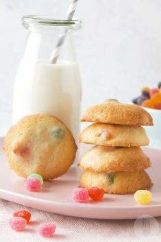 5 Ingredient Jelly Tots Cookies - 5 Ingredients or less - Doughnut Recipes Milk Recipes, Sweet Recipes, Baking Recipes, Cookie Recipes, Dessert Recipes, Thumbprint Cookies, Jelly Beans, Jelly Tots, Fruits For Kids