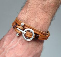 Genuine Leather Wrap Bracelet / Men's Leather Bracelet. Unisex Bracelet / Natural leather bracelet with silver plated clasp