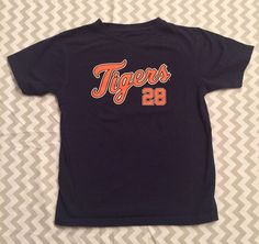 MLB Detroit Tigers T-Shirt Fielder #28 Navy Blue Orange Kids Size 7 (Large) C1  | eBay