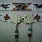Completed Eagle~Owl's Eyes Beaded Hatband with Padre Beads on Leather Ties
