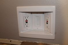 Outlet box for behind mounted tv