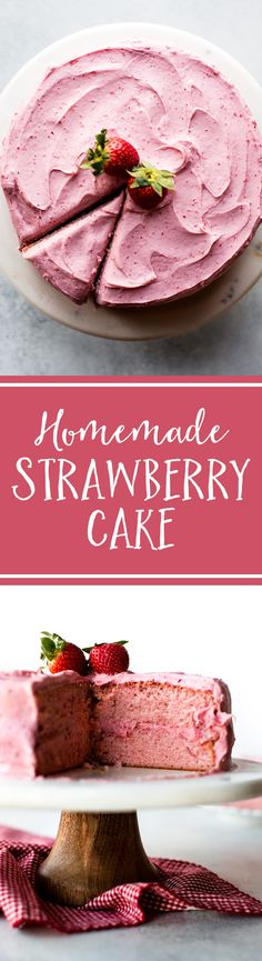 Sweet strawberry cake topped with strawberry frosting made with fresh strawberries! No artificial flavors. Homemade strawberry cake on sallysbakingaddic The post Sallys Baking Addiction appeared first on Daisy Dessert. Homemade Strawberry Cake, Strawberry Frosting, Strawberry Cakes, Strawberry Flower, Strawberry Recipes, Valentine Desserts, Köstliche Desserts, Cake Recipes, Dessert Recipes