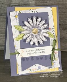 Stampin' Up! Daisy Delight card idea made with Stampin' Up! Daisy Delight Stamp Set. Hand stamped card with daisies card designed by Shelly Godby of www.stampingsmiles.com