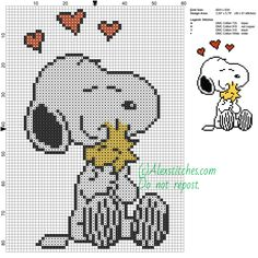 Snoopy and Woodstock free cartoons cross stitch pattern 60x83 4 colors - free cross stitch patterns by Alex