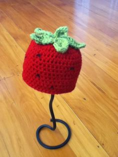 Free Strawberry Beanie Crochet Pattern.