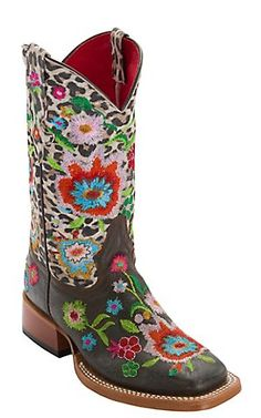 Anderson Bean Kid's Chocolate Vintage w/ Snow Leopard & Multicolor Floral Embroidery Square Toe Boots Children's Cowboy Boots, Western Boots, Country Wear, Country Girls, Anderson Bean Boots, Shoe Boots, Shoe Bag, Shoes, Gypsy Style