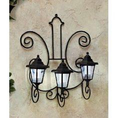 3-lantern Solar Garden Wall Light