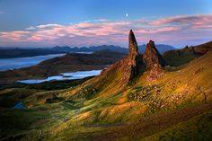 Trotternish Ridge on the Isle of Skye. The dramatic landscapes seen today was created by the longest and most spectacular landslip in Britain. The landslip is caused by lava flows from the Paleogene Age, between the age of the dinosaurs and the last Ice Age, falling away from the weaker Jurassic sediments beneath.