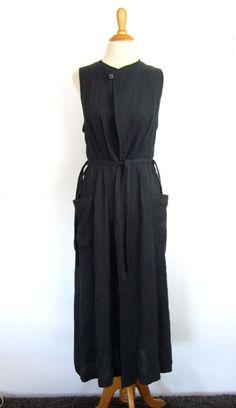 Vtg Matsuda Nicole Japanese Design Crinkle Linen Robe Dress 38 Avant Garde 80s   | eBay