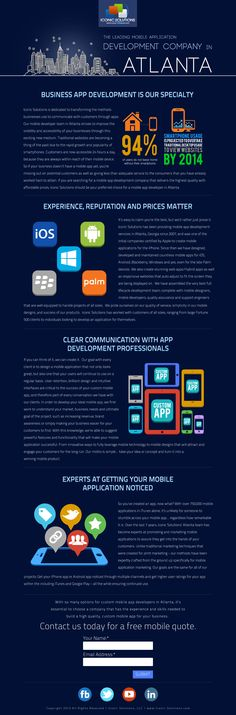 Infographic style landing page for mobile app development in Atlanta, GA. Web Design Services, Web Design Company, Mobile Web Design, Responsive Web Design, Mobile Application, App Development, Landing, Atlanta, Infographic