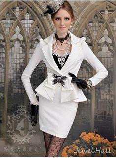 Fabulous OL Style Slim Bow Knot Turndown Collar Long Sleeve Dress: jewelhall.com