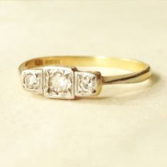 Vintage Art Deco Diamond Eternity Ring, 18k Gold Engagement Wedding Ring, Approx. Size US 7.75