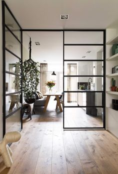 Steel frame Crittall windows in an open plan contemporary living space Contemporary Internal Doors, Interior Architecture, Interior Design, Futuristic Architecture, A Frame Cabin, Design Case, Home Decor Trends, Decor Ideas, Style At Home