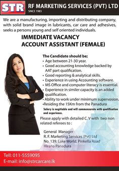 We seek candidate for Accounts Assistant position. You need good accounting knowledge back by AAT part qualification. Accounting Jobs, Career, Knowledge, Marketing, Carrera, Facts