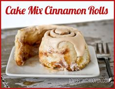 Cake Mix Cinnamon Rolls.  Still real cinnamon rolls but made a bit easier with the addition of a cake mix. By Love From The Oven