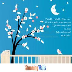 cherry blossom tree Nursery wall decal - Tree Wall Decals - Boys room decor - Boys room wall decal - Nursery Rhymes wall decal