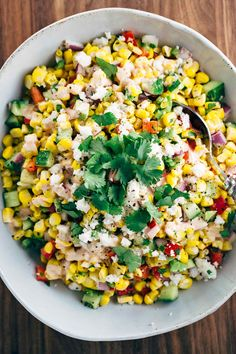 MEXICAN STREET CORN SALAD WITH CHIPOTLE DRESSING