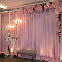 I like the idea of hanging the chandelier from the frame! Wedding Stage Decorations, Backdrop Decorations, Decoration Table, Birthday Decorations, Flower Decorations, Paper Flower Backdrop, Paper Flowers, Bridal Shower, Baby Shower