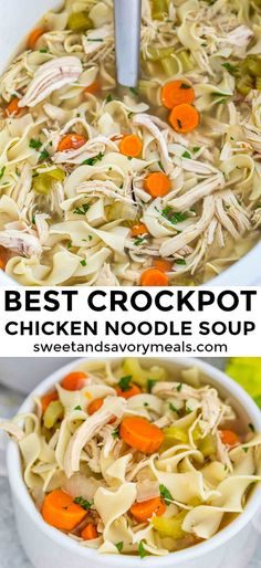 Crockpot Chicken Noodle Soup is soothing, hearty and perfect for cold weather. Crockpot Chicken Noodle Soup is soothing, hearty and perfect for cold weather. Made easily in the slow cooker with simple, real ingredients. Crock Pot Recipes, Crockpot Dishes, Crock Pot Cooking, Slow Cooker Recipes, Chicken Recipes, Cooking Recipes, Healthy Recipes, Crockpot Meals, Dinner Crockpot