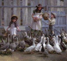 """Limited Edition CanvasImage size:22""""""""w x 20""""""""h.Edition Size: 75""""Growing up on the farm,"""" says MorganWeistling,""""I loved to feed the animals. This painting brings back childhood memories of my two si"""
