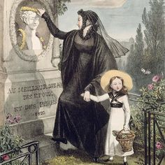 """Good Mourning: Metropolitan Museum Announces Fall Funerary Costume Show - """"The Cemetery of Pere Lachaise,"""" after John James Chalon, color engraving (detail) (via the Bridgeman Art Library) Death Becomes Her, Mourning Dress, Post Mortem, Empire, Art Costume, Memento Mori, Historical Clothing, Historical Costume, Metropolitan Museum"""