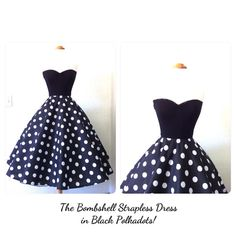 The BOMBSHELL Strapless 50s Style Party Dress, Rockabilly Black Polkadot Full Circle Skirt, Vintage Bride Summer Wedding Tea Length Mod Dres on Etsy, £53.78