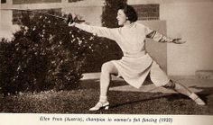 Ellen Preis (Austria), champion women's foil fencing (1932).