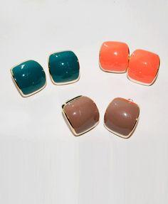 Vintage Bright Color Stud Earings