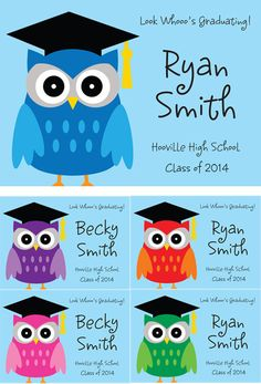 Graduation Owl Theme Announcements / Use an owl back drop for a great graduation announcement. 5th Grade Graduation, Graduation Theme, Kindergarten Graduation, Owl Party Decorations, Graduation Decorations, Summer Daycare, High School Classes, Graduation Announcements, Grad Parties