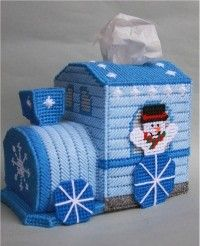 everything plastic canvas | Snowman Train Tissue Topper-Plastic Canvas Plastic-Canvas-Kits.Com