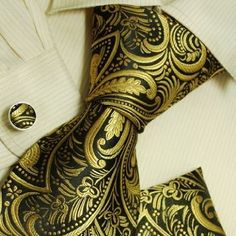 #BlackandGold Men's Paisley Tie with Matching Pocket Square and Cufflinks